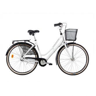 en klassisk dam cykel med navgenerator och högt styre från Monark
