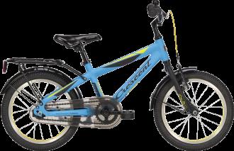"""Crescent 16"""" pojkcykel som är utrustad med långa skärmar och pakethållare"""