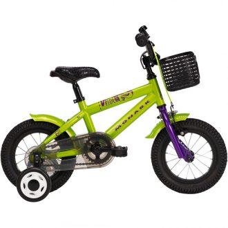 """barncykel från monark med 12"""" hjul och färg grön med korg"""